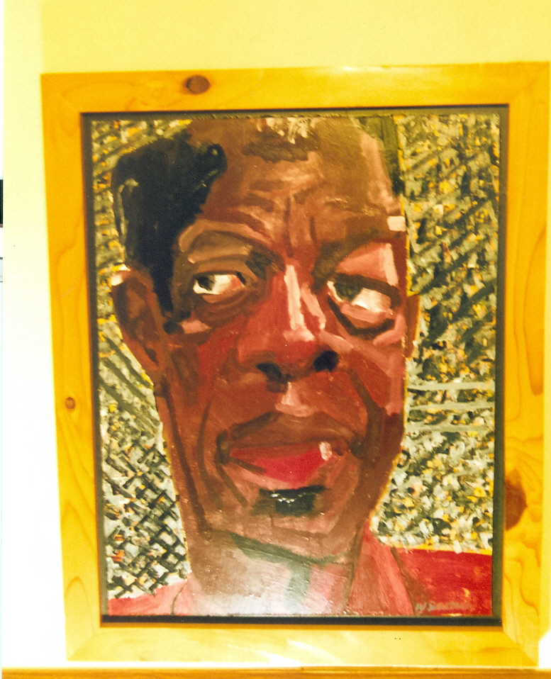 """Ornette Coleman"" by Wayne Duetsch. enamel on wood board ca. 1997 from Metropolitan Art. photo: Kevin Lynch"