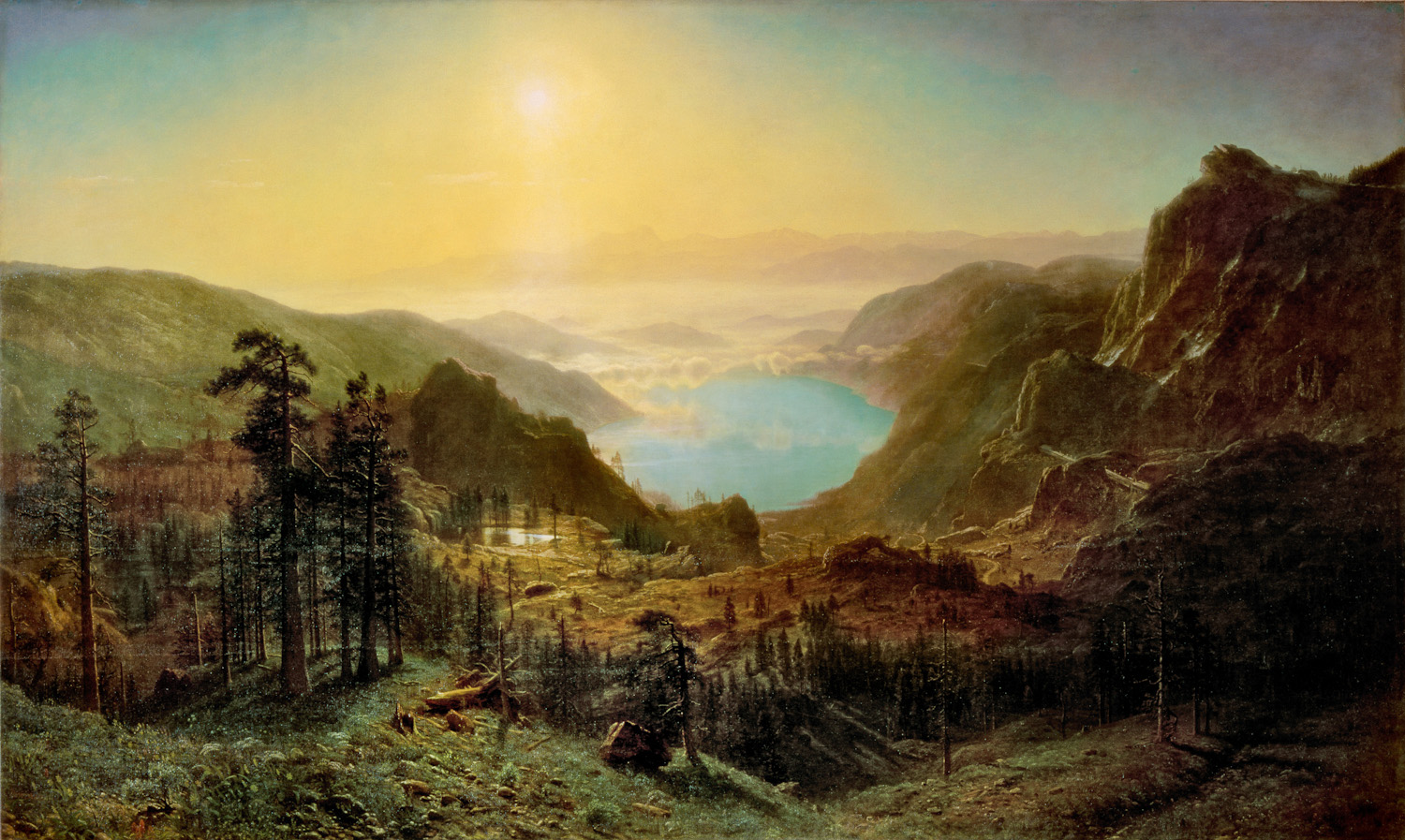 Albert Bierstadt (American, 1830-1902)Donner Lake from the Summit, 1873Oil on canvas: 72 1/8 x 120 3/16 in. (183.2 x 305.3 cm)Gift of Archer Milton Huntington, 1909.16